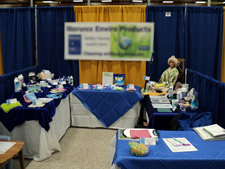 Cluttered trade show booth